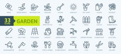 Flower and Gardening elements - minimal thin line web icon set. Outline icons collection. Simple vector illustration.