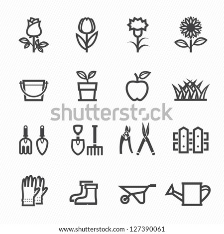 Flower and Gardening Tools Icons with White Background