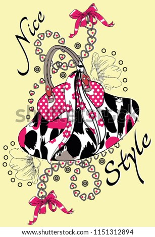 Flower and point shaped bag with heart, ribbon, text. Vector illustration. #1151312894