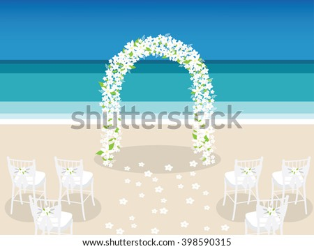 flower arch on the beach