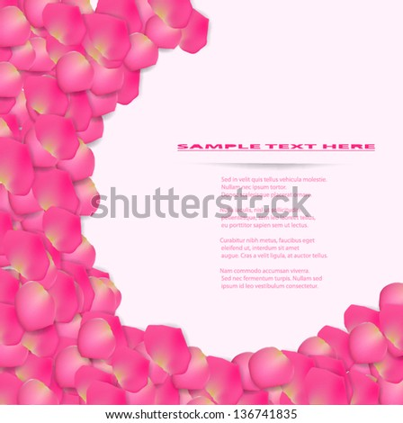Flower background from pink rose petal. - stock vector