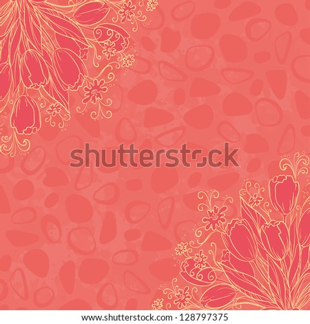 Flower background, outline tulips flowers and abstract pattern. Vector