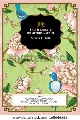 flower background wedding invitation card template vector/illustration