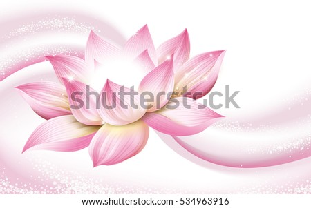 flower background, with a complete pink lotus in the picture, 3d illustration