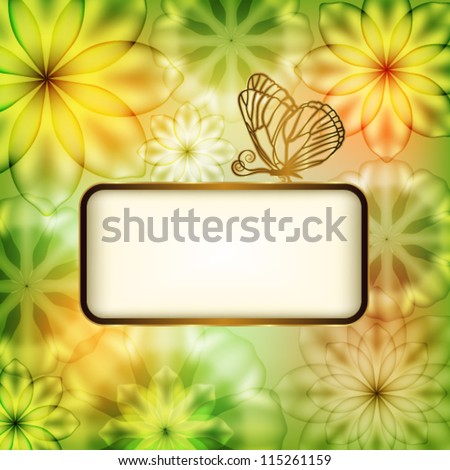 Flower background with butterfly and place for text