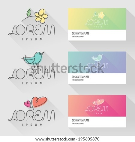 Flower bird and hearts Icon design elements with visit card template