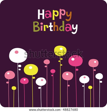 Flower Birthday Card Design Stock Vector 48827680 : Shu