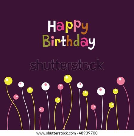 Flower Birthday Card Design Stock Vector 48939700 : Shu