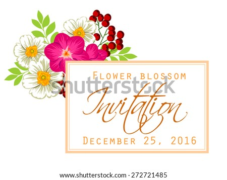 Flower blossom. Romantic botanical invitation. Greeting card with floral background. #272721485