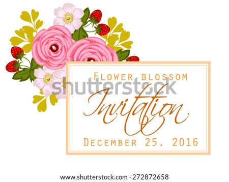 Flower blossom. Romantic botanical invitation. Greeting card with floral background. #272872658