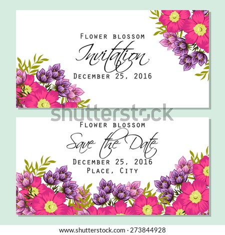 Flower blossom. Romantic botanical invitation. Greeting card with floral background. #273844928