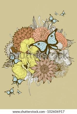 flower bouquet illustration/vector