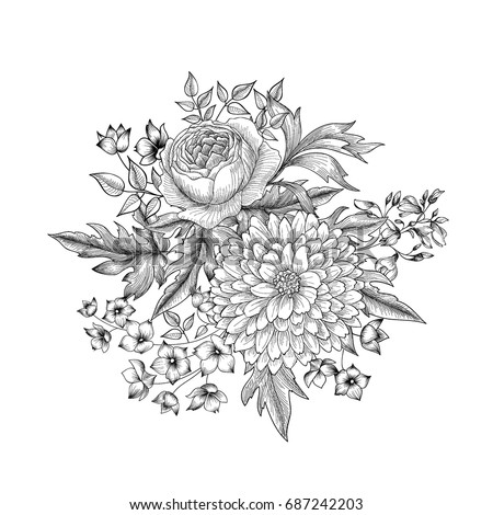Flower bouquet isolated. Floral sketch background. Hand drawn engraving greeting card