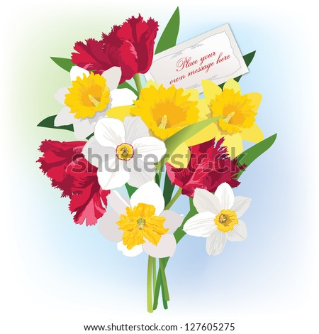 flower bouquet with greeting card and copy space