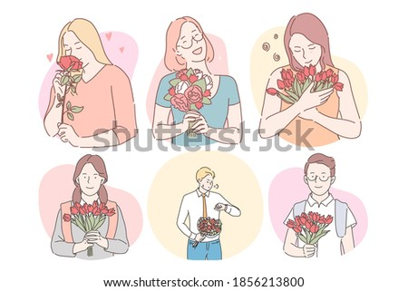 Flower bouquets as presents for women concept. Happy smiling women cartoon characters holding flowers bouquets as gifts for holiday and men preparing flowers for dear women for dating