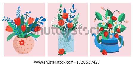 flower bouquets in wrapping and