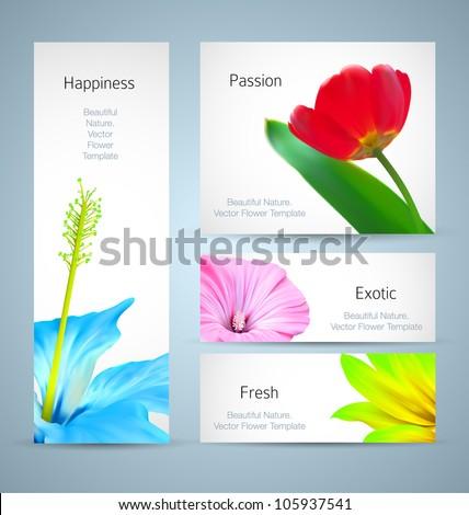 Flower brochure background design. Vector card template