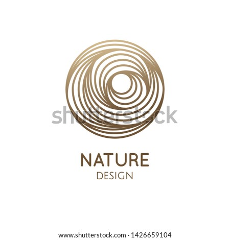Flower bud logo template. Vector round icon of swirl water or rosebud. Abstract ornamental emblem for business emblem, badge for a travel, tourism and ecology concepts, health, yoga Center