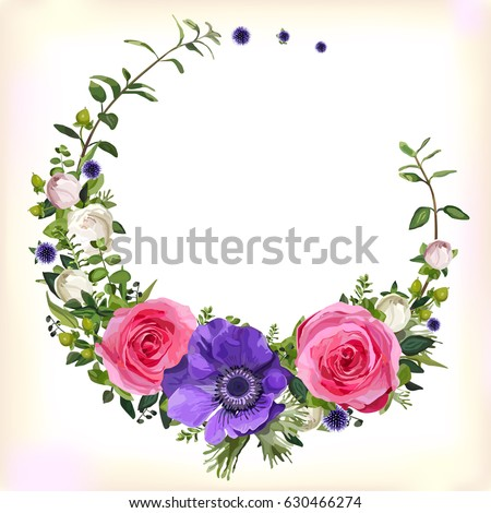 Flower circle round wreath coronet flowers pink Rose purple Anemone poppy leaves beautiful lovely spring summer bouquet vector illustration. Top view square elegant watercolor design white background
