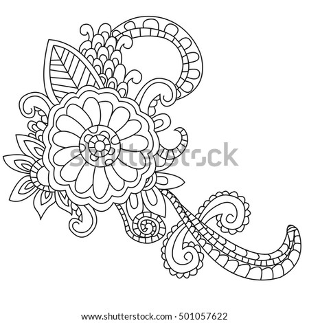 Flower Coloring Book For Adults Vector Illustration Anti Stress Adult Zentangle