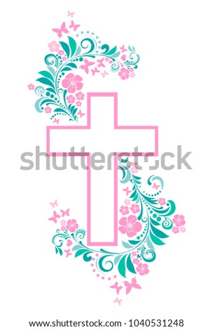 flower cross isolated on white