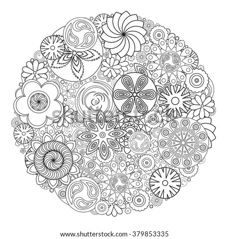 flower design for coloring book for grown up an adult