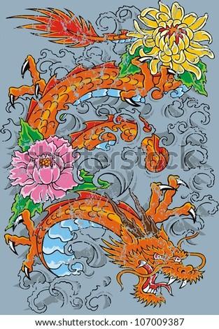 flower dragon - stock vector
