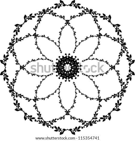 Flower element. Black round floral illustration background.