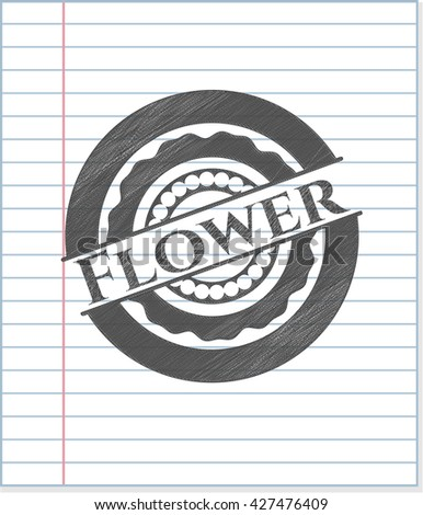 Flower emblem draw with pencil effect