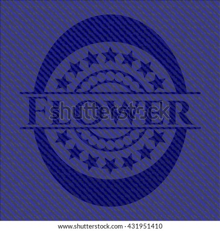 Flower emblem with denim high quality background
