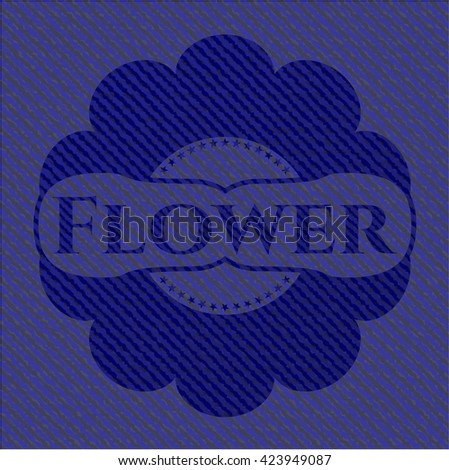 Flower emblem with jean background