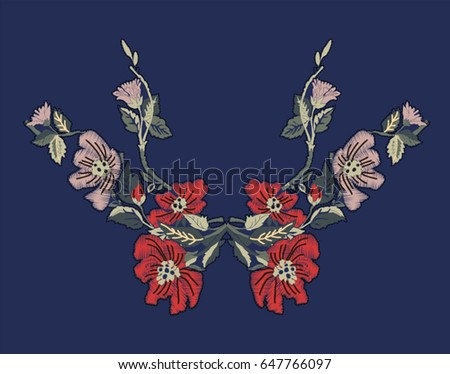 Flower embroidery design.Women's clothing fashion