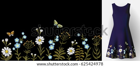 Flower embroidery on dress mock up. Fashion decoration patch realistic 3d vector illustration woman clothes. Traditional flower seamless border textile print vintage art