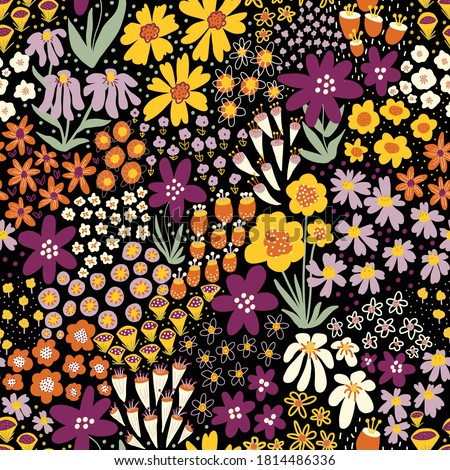 Flower field autumn colors on black seamless vector pattern. Repeating dense liberty doodle flower meadow background. Repeating Scandinavian style line art florals. For fabric, wallpaper, home decor