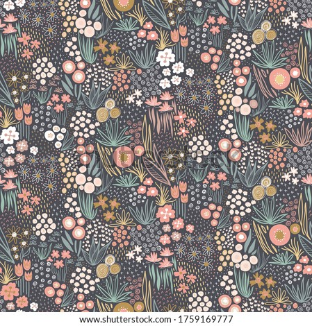 Flower field pastel colors on dark seamless vector pattern. Repeating liberty doodle flower meadow background. Repeating Scandinavian style line art florals. For fabric, wallpaper, home decor