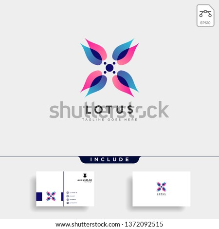 flower floral gradient beauty premium simple logo template with business card