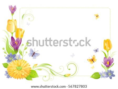 flower frame isolated white