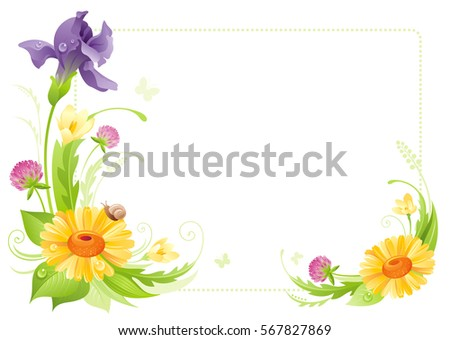 flower frame isolated white