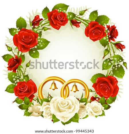 Flower frame. Vector white and red rose and golden wedding rings