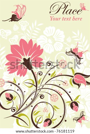 Flower frame with butterfly, element for design, vector illustration