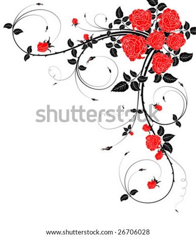 Flower frame with Rose, element for design, vector illustration ...