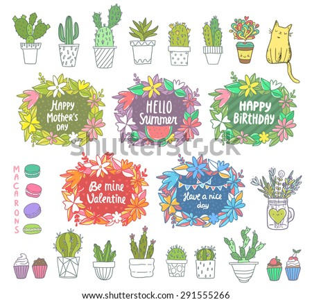 flower frames for happy birthday summer time mothers day st valentines day cute cactus illustration coffee cup cat cupcakes macarons