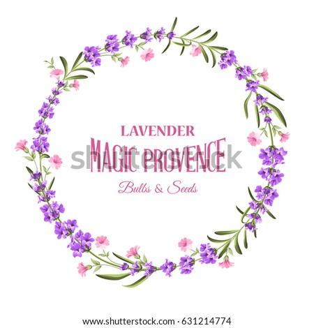 Flower garland for your text presentation. Lavender wreath with calligraphic text for card design. Sticker with lavender flowers. Vector illustration. #631214774