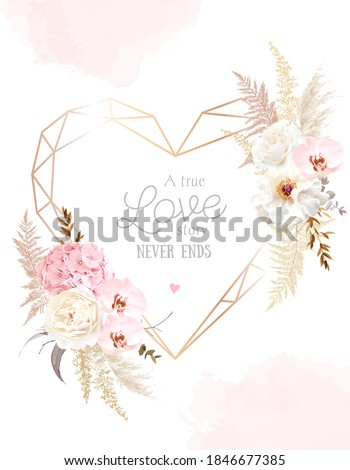 Flower geometric heart line art vector design frame. Wedding watercolor flowers. Ivory white peony, dusty pink blush orchid, hydrangea, ranunculus, pampas grass, dry leaves card. Isolated and editable
