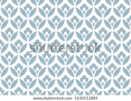 Flower geometric pattern. Seamless vector background. White and blue ornament Foto stock ©