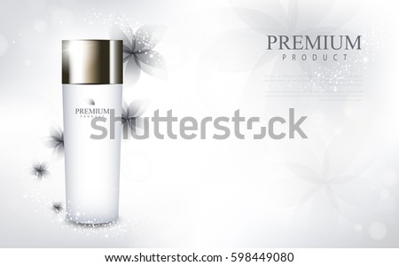 Flower glamorous cosmetic ads, facial treatment for sale. white cream bottle. vector design. #598449080
