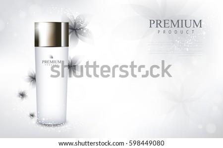 Flower glamorous cosmetic ads, facial treatment for sale. white cream bottle. vector design. #598449080
