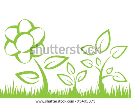 flower, grass and leaves silhouettes vector illustration