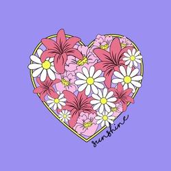 FLOWER HEART ILLUSTRATION, SLOGAN PRINT VECTOR