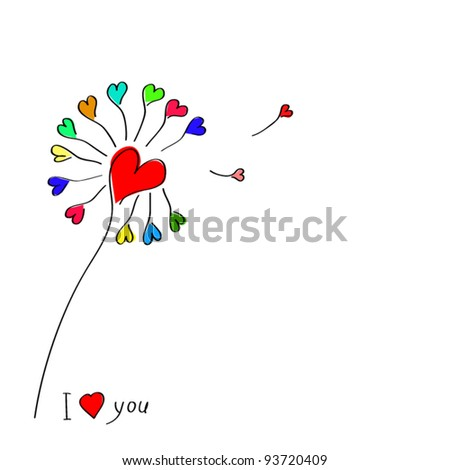 Flower hearts, Spring, love and eco background. Vector illustration.